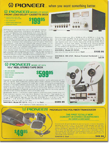 picture of Pioneer equipment in the 1976 Burtein Applebee Radio catalog