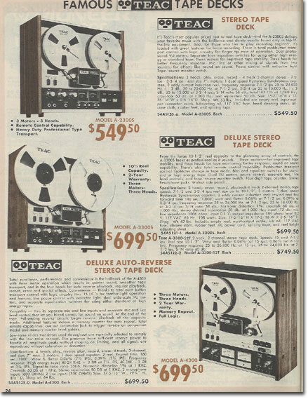 picture of Teac recorders in the 1976 Burstein Applebee catalog