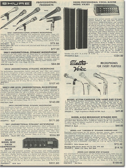 picture of microphone equipment in the 1976 Burtein Applebee Radio catalog