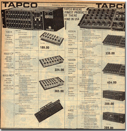 picture of ads for Tapco equipment in 1977 McGee catalog