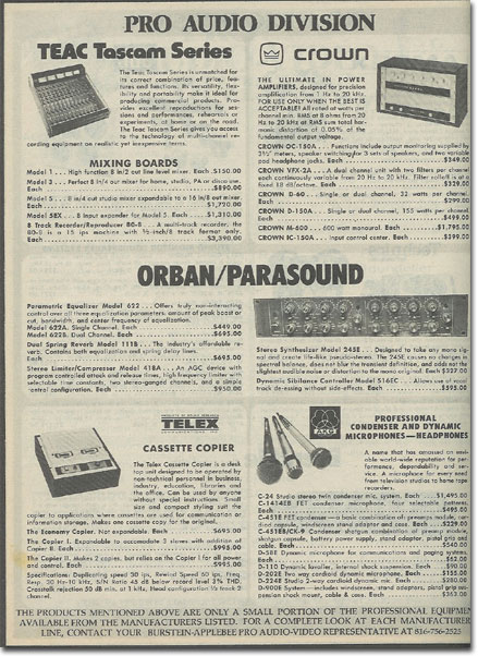 picture of pro equipment for sale in the 1978 Burstein Applebee radio catalog