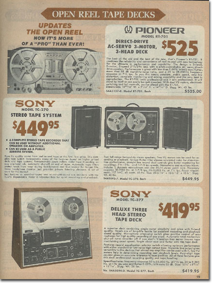 picture of tape recorders for sale in the 1978 Burstein Applebee radio catalog