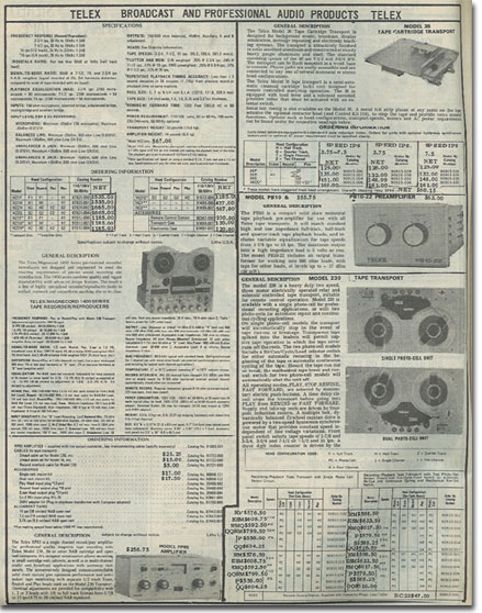 picture of tape recorders in the 1978 McGee Radio catalog