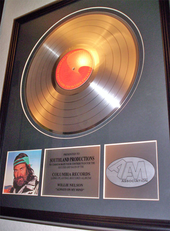 Award for Willie Nelson's Always oOn My Mind in Phantom's museum
