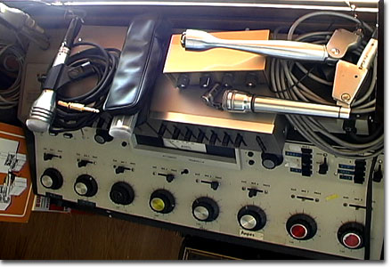 picture of BA, EV, Lafayette,Turner mikes on BA equalizer with old 4 channel Lafayette mixer
