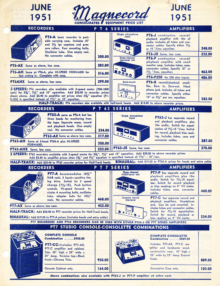1951 price list for Magnecord reel to reel tape recorders in the Reel2ReelTexas.com's vintage recording collection