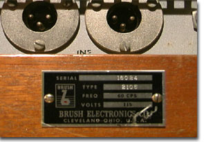 picture of brush recorder's name plate with serial number