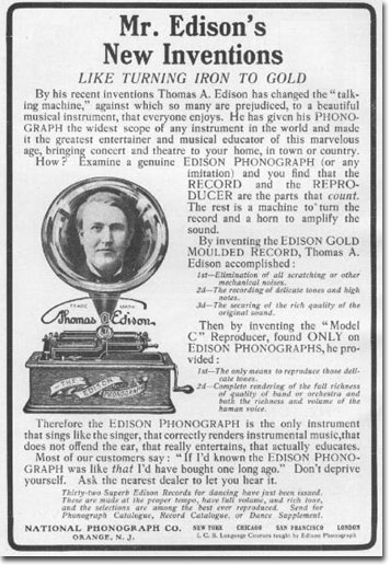 picture of 1905 Edison cylinder ad