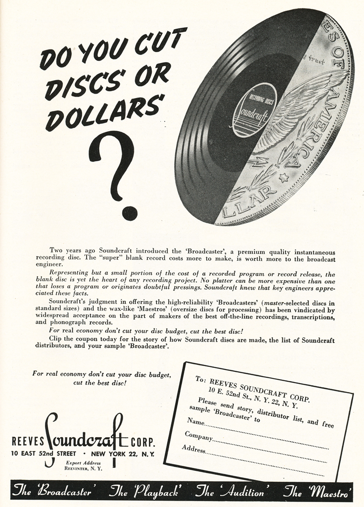 1948 Reeves Soundcraft ad  in Reel2ReelTexas.com's vintage recording collection