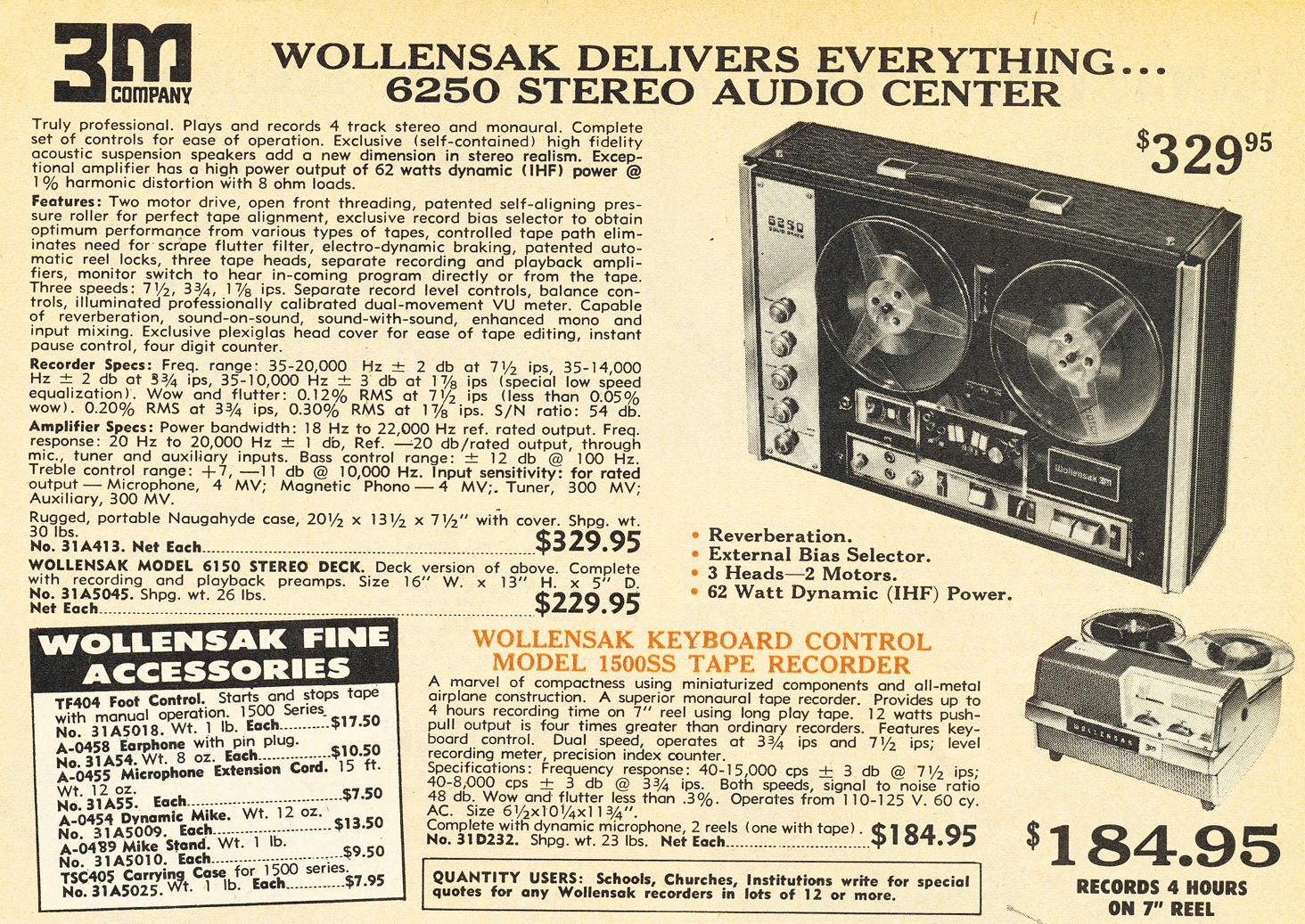 1970 ad for the Wollensak 6250 reel tape recorder in Reel2ReelTexas.com's vintage recording collection