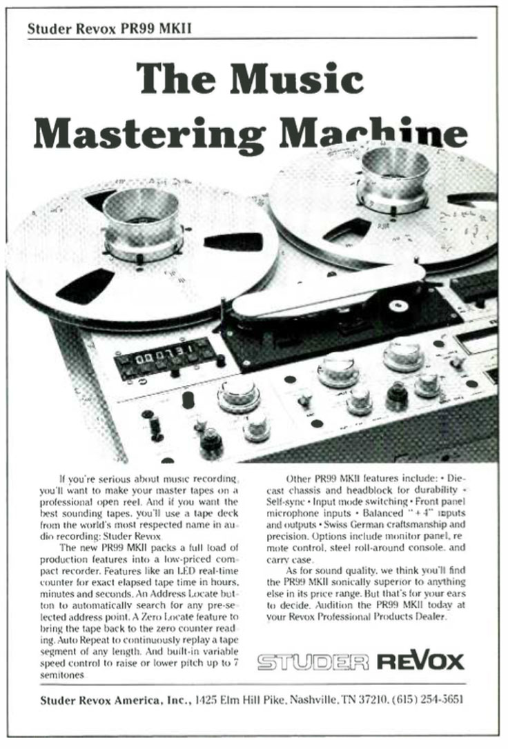 1984 Studer ReVox PR99 ad in Reel2ReelTexas' vintage reel to reel tape recorder documentation collection