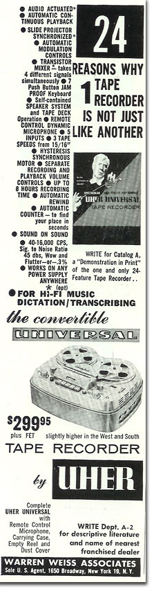 1960 ad for Uher reel to reel tape recorders in the Reel2ReelTexas.com's vintage recording collection