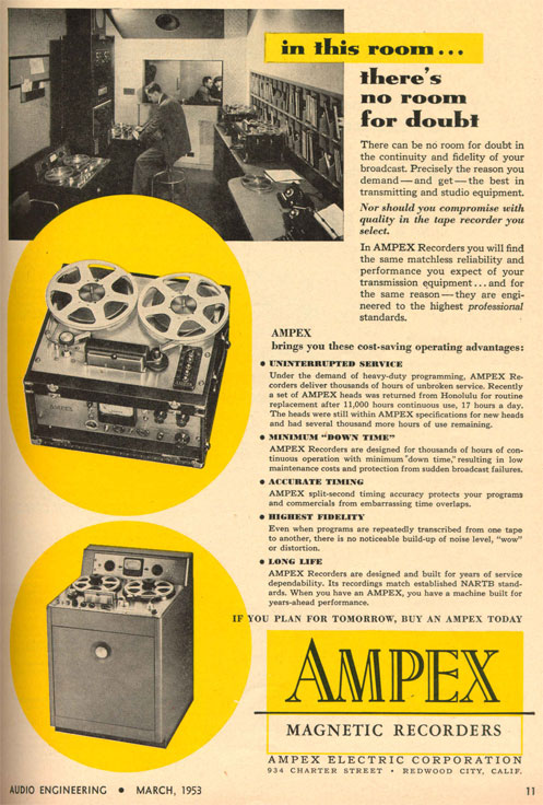 picture of 1953 Ampex 300 and 400  reel tape recorder ad