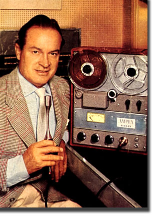 picture of Bob Hope with Ampex 600 and American D22 microphone from the cover of Radio Television News in 1954