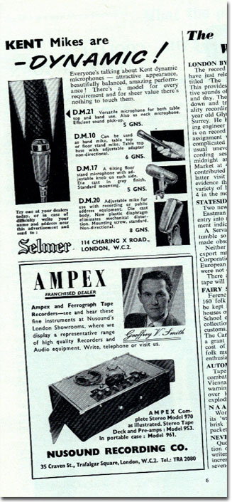 Ampex ad in UK magazine