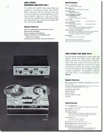Sterecorder 262 specifications in 1961 Sony catalog in   Phantom Productions vintage reel tape recorder collection