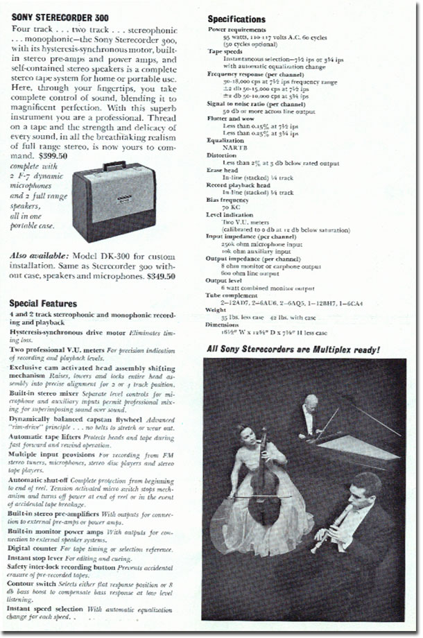 Sterecorder 300 specifications in 1961 Sony catalog in Phantom productions vintage reel tape recorder collection