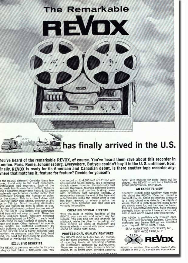 picture of 1966 ReVox tape recorder ad