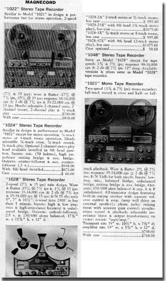 picture of Magnecord recorder descriptions from 1966