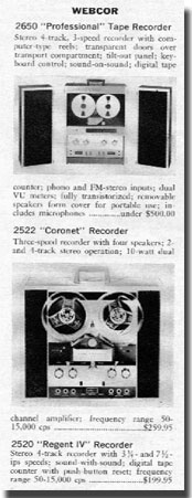 picture of Webcor recorder descriptions from 1966