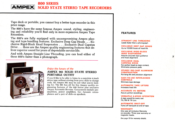 1967 Ampex brochure describing the Ampex 800 series tape recorder in Reel2ReelTexas.com vintage reel to reel tape recorder collection
