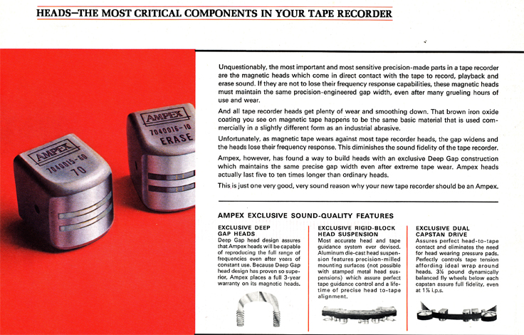 1967 Ampex brochure describing the Ampex heads in Reel2ReelTexas.com vintage reel to reel tape recorder collection