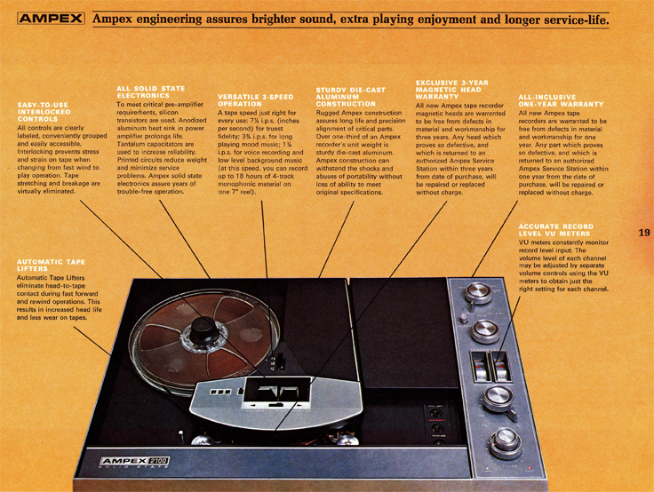 1967 Ampex brochure describing the Ampex tape recorders in Reel2ReelTexas.com vintage reel to reel tape recorder collection