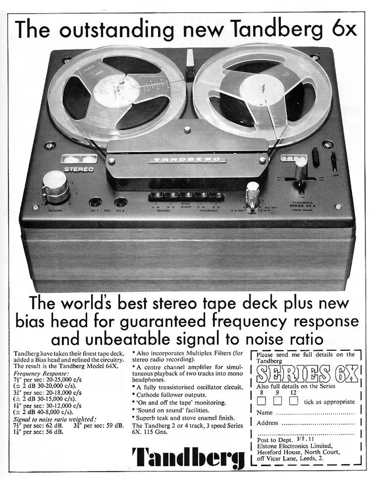 1967 ad for the Tandberg 6x reel to reel tape recorder in Reel2ReelTexas.com's vintage recording collection