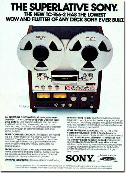 1978 ad for Sony reel tape recorders in Reel2ReelTexas.com's vintage recording collection