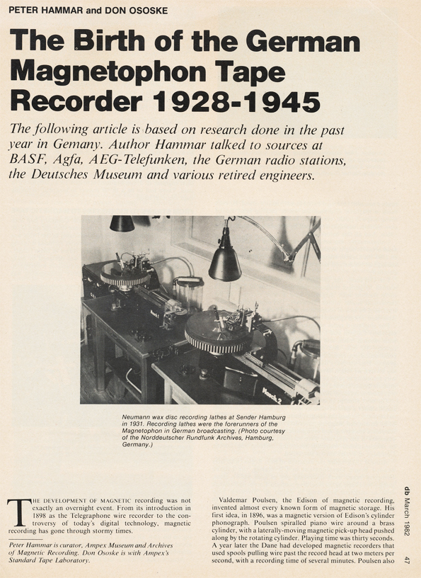 Page 1 of 1982 db magazine article on German reel to reel tape recorders from 1928 to 1945