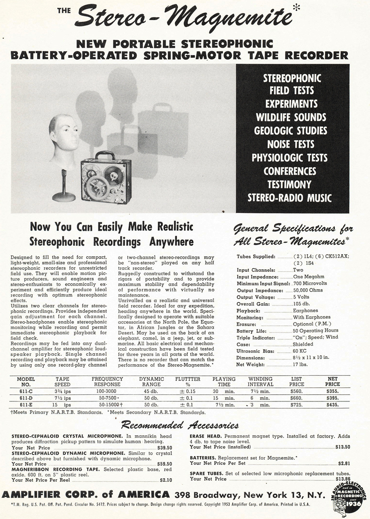 1953 catalog for Amplifier Corporation's reel to reel tpe recorders and supplies including the Magnamite in the   Reel2ReelTexas.com's vintage recording collection