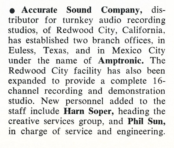 1975 comment about ASC establishing branch offices Ron Newdoll's Accurate Sound Company in Reel2ReelTexas.com's vintage recording collection