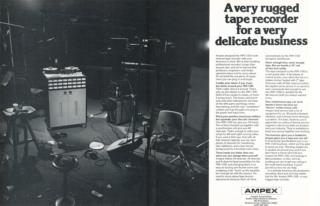 1975 ad for the Ampex M-1100 professional reel to reel tape recorders in Reel2ReelTexas.com's vintage recording collection