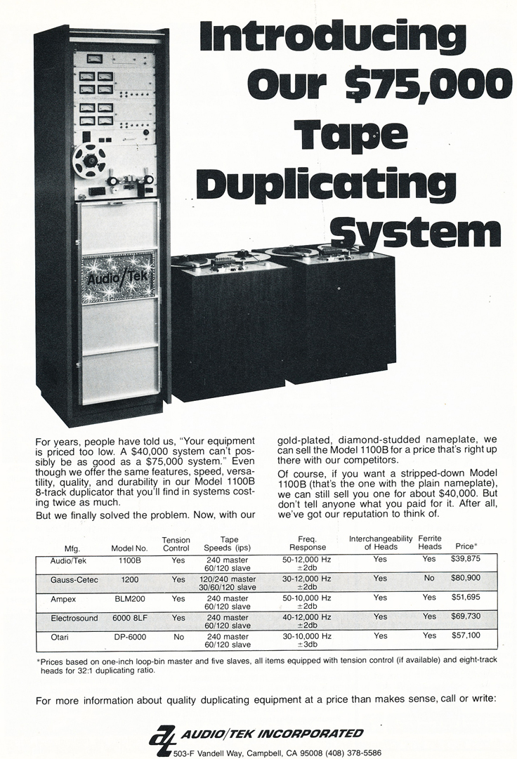 1075 ad for Audio Tek in Reel2ReelTexas.com's vintage recording collection
