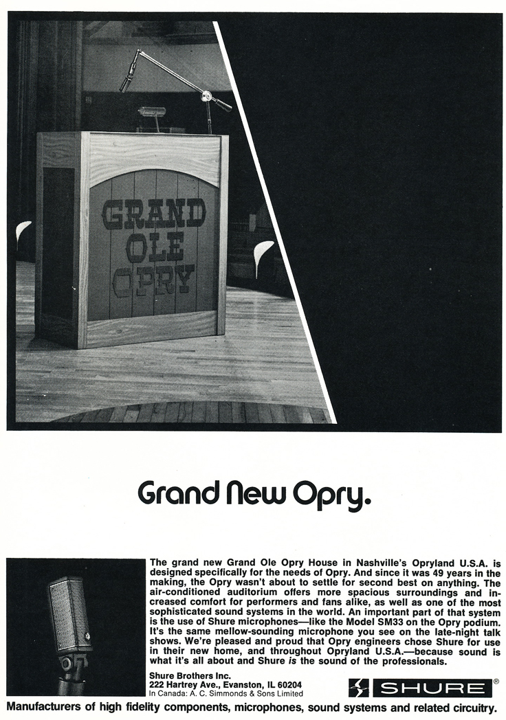 1975 ad for the Shure SM33 microphone featuring the Grand Ole Opry in Reel2ReelTexas.com's vintage recording collection