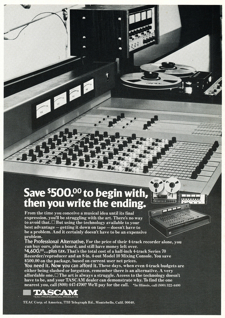 "1975 ad for the Teac Tascam Series 70 1/2"" 8 track professional reel to reel tape recorder and the Teac Tascam Model mixer in Reel2ReelTexas.com's vintage recording collection"