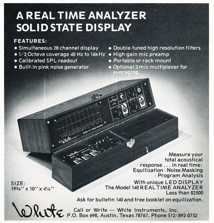 1975 ad for Austin Texas' White Instruments in Reel2ReelTexas' vintage recording collection