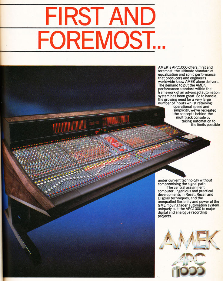 1986 ad for the AMEK APC recording console in Reel2ReelTexas' vintage recording collection