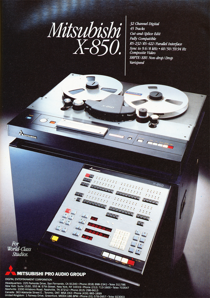 1986 ad for the Mitsubishi X-850 professional reel to reel tape recorder  in Reel2ReelTexas' vintage recording collection