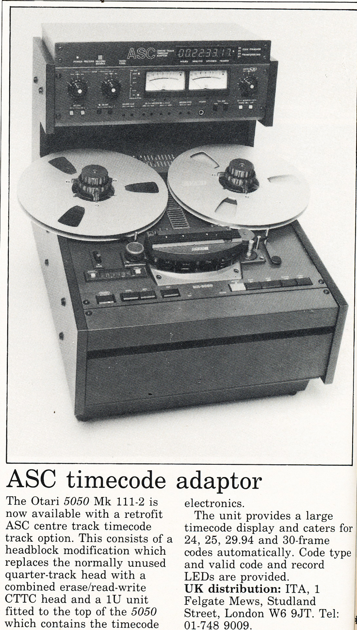 1986 ad for the Otari 5050 MK 111-2 time controller for the professional reel to reel tape recorder in the Reel2ReelTexas.com's vintage recording collection