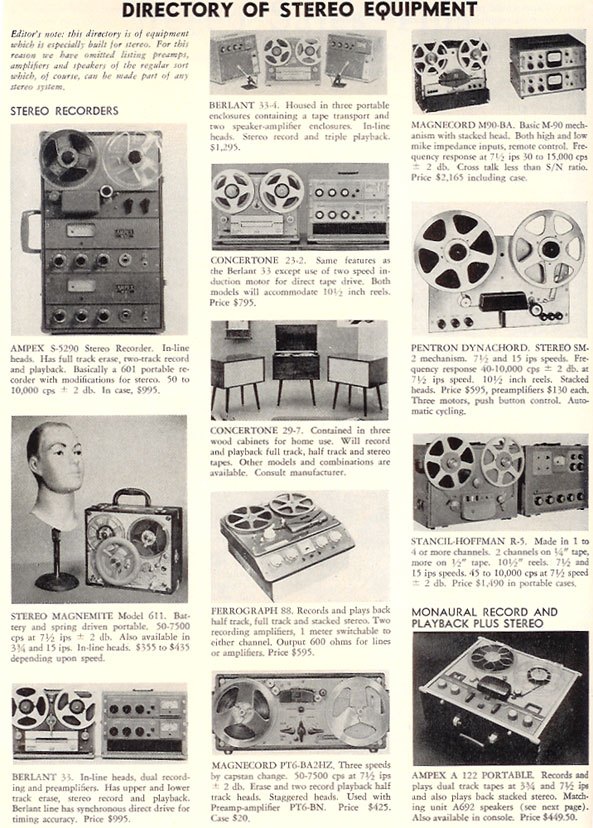 1957 Tape recorder directory in Phantom Productions' vintage recording collection