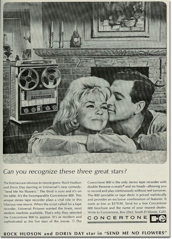 picture of 1964 Concertone 800 Tape recorder ad with Doris Day & Rock Hudson