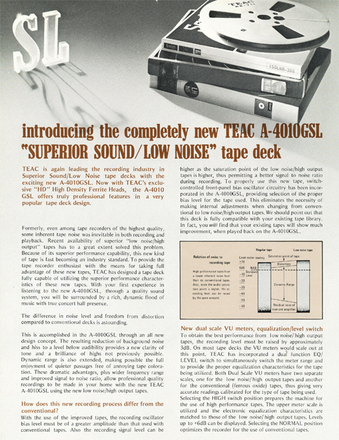 Brochure for the Teac A-4010GSL reel tape recorder in Reel2ReelTexas.com vintage tape recorder collection