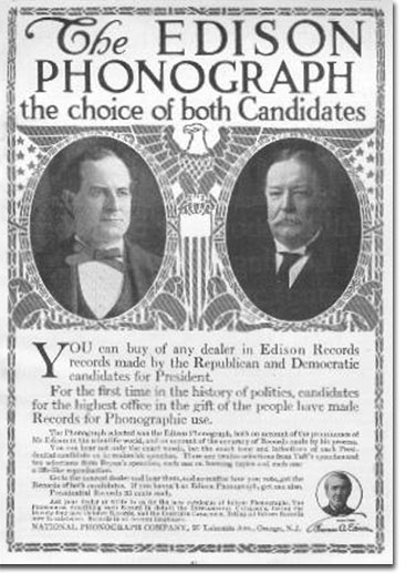 picture of 1908 Edison cylinder ad