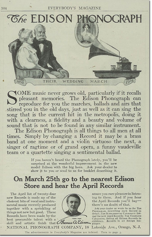 picture of 1908 Edison Cylinder ad in Everybody's Magazine