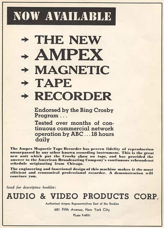 picture of 1948 Bing Crosby ad for Ampex tape recorders