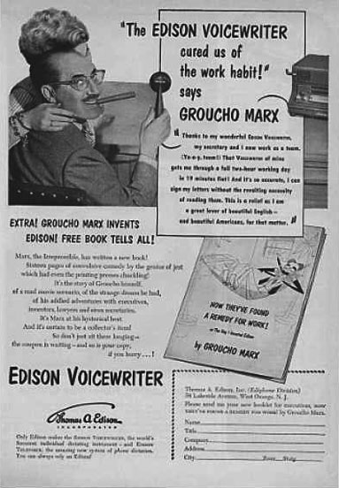 1937 ad for the Edison Voice Writer cylinder ditating recorder in Reel2ReelTexas.com's vintage recording collection