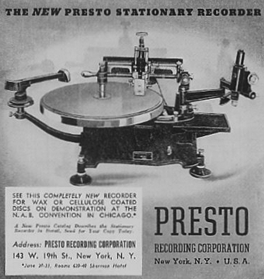 1937 ad for Presto Disc recorders in the Museum of Magnetic Sound Recording