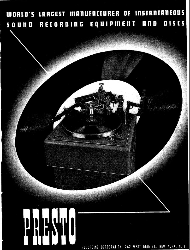 1940 ad for Presto disc recorders in the Museum of Magnetic Sound Recording