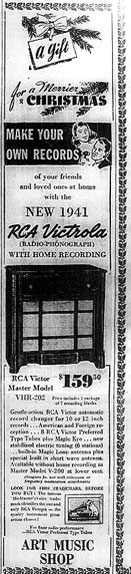 picture of 1941 RCA Victrola recorder ad